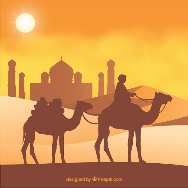 Boy et le chameau Vecteur gratuit