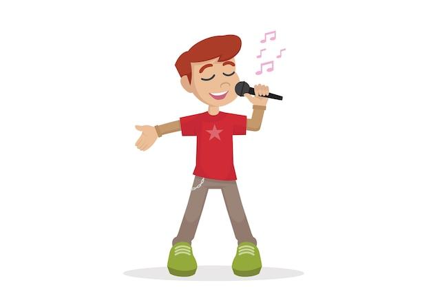 Boy Chante Une Chanson Dans Un Micro. Vecteur Premium