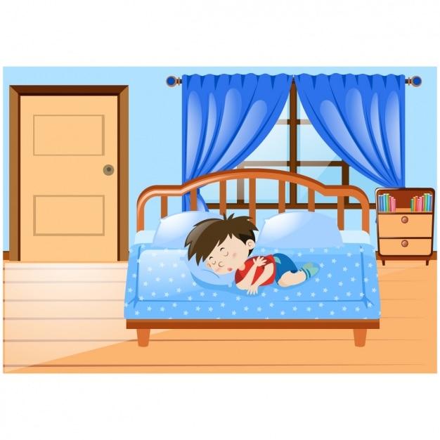 boy dormir dans le lit t l charger des vecteurs gratuitement. Black Bedroom Furniture Sets. Home Design Ideas