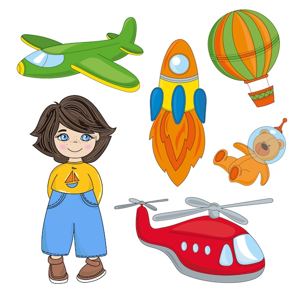 Boy dream enfants jeu cartoon vector illustration set Vecteur Premium