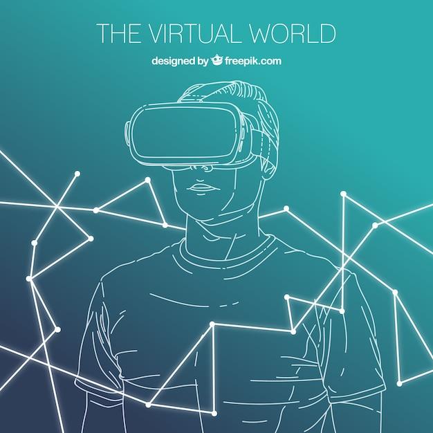 Boy esquisse fond avec des lunettes de réalité virtuelle Vecteur gratuit
