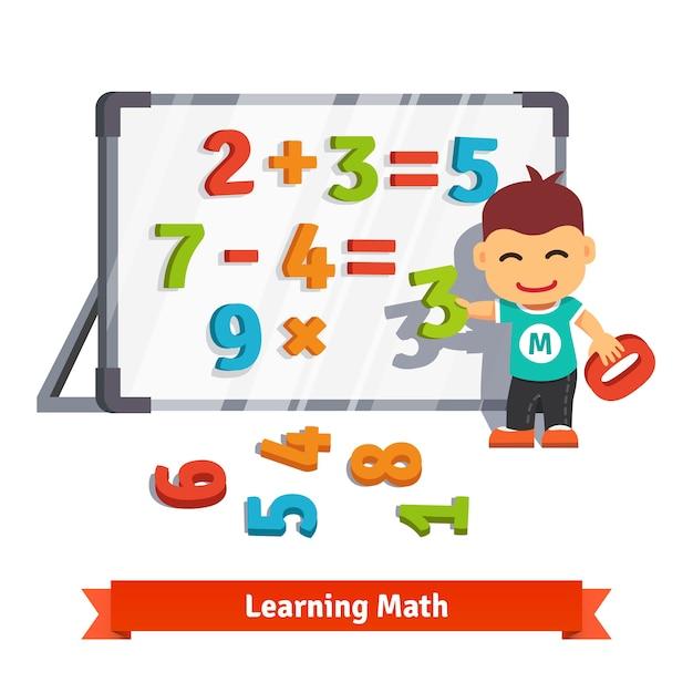 Boy learning math Vecteur gratuit