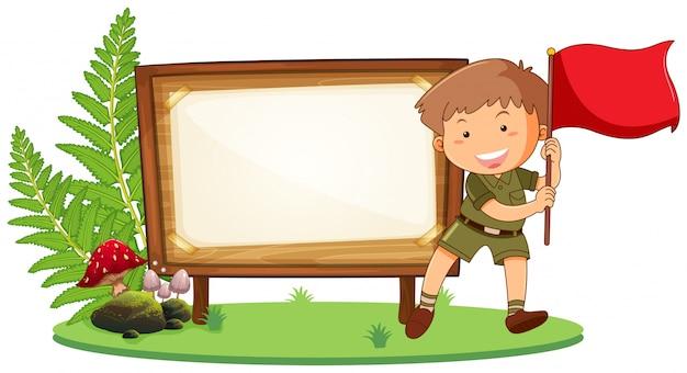 Boy scout sur planche de bois Vecteur gratuit