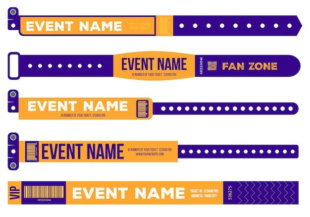 Bracelets pour l'entrée à l'événement. Vecteur Premium