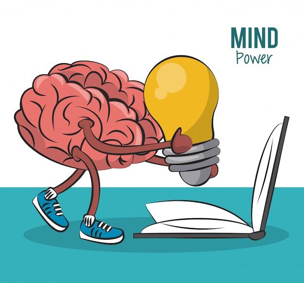 Brain Holding Grande Idee Et Livre Ouvert Vector