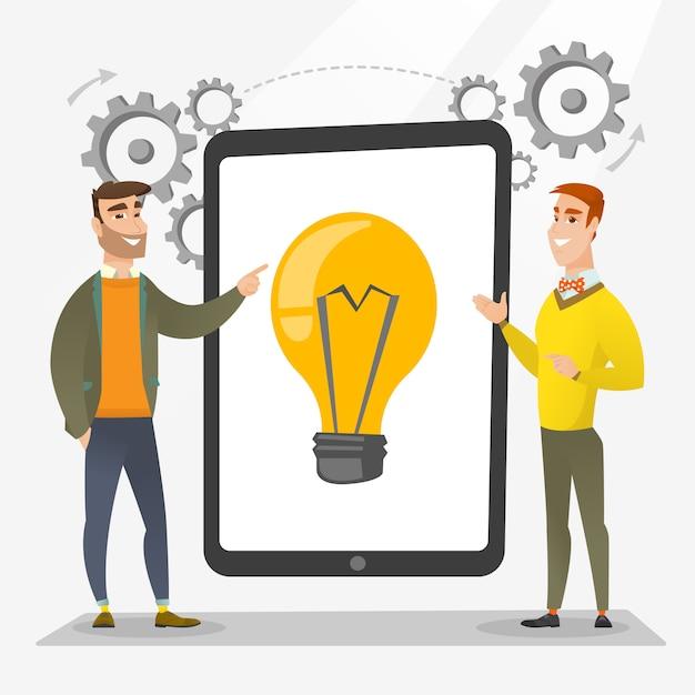 Brainstorming de l'équipe de création d'entreprise. Vecteur Premium