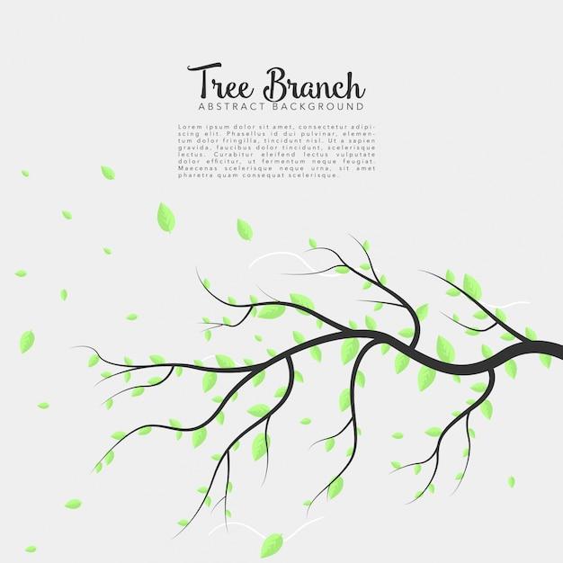 Branche d'arbre sur fond isolé Vecteur gratuit
