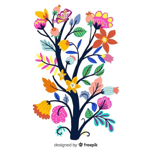 Branche de fleurs printanières en design plat Vecteur gratuit