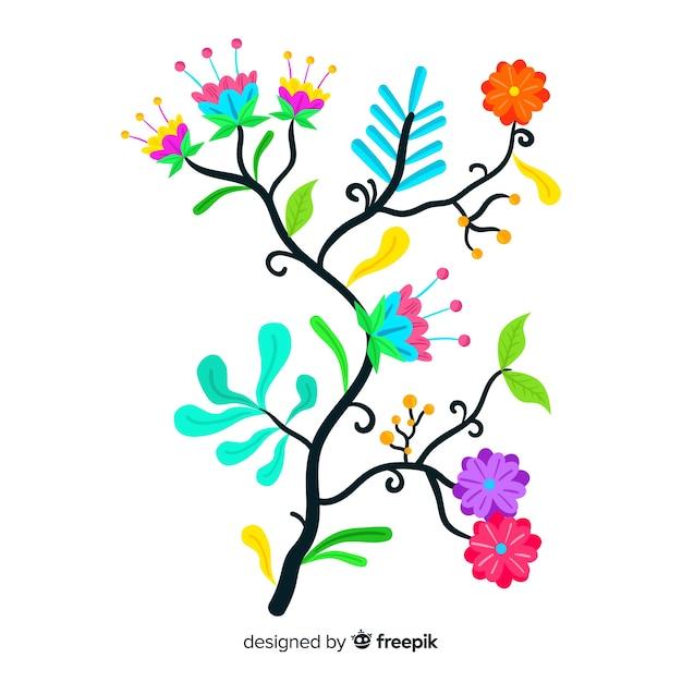 Branche floral coloré artistique design plat décoratif Vecteur gratuit