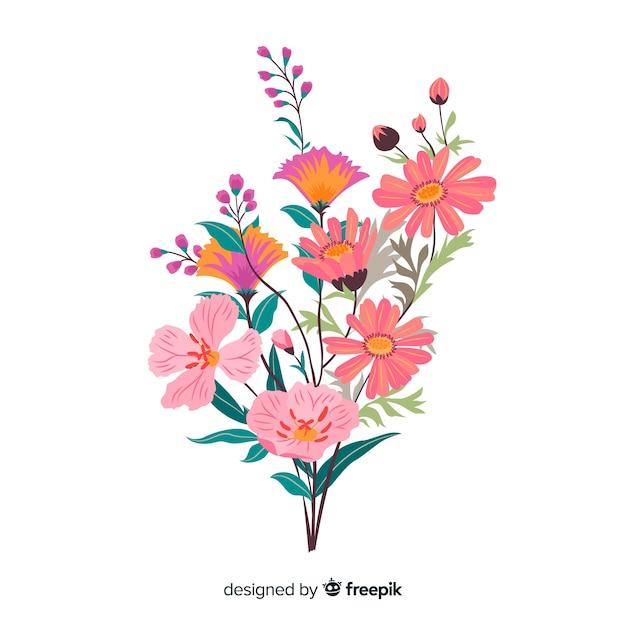 Branche floral coloré dessiné à la main Vecteur gratuit