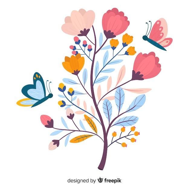 Branche florale design plat Vecteur gratuit