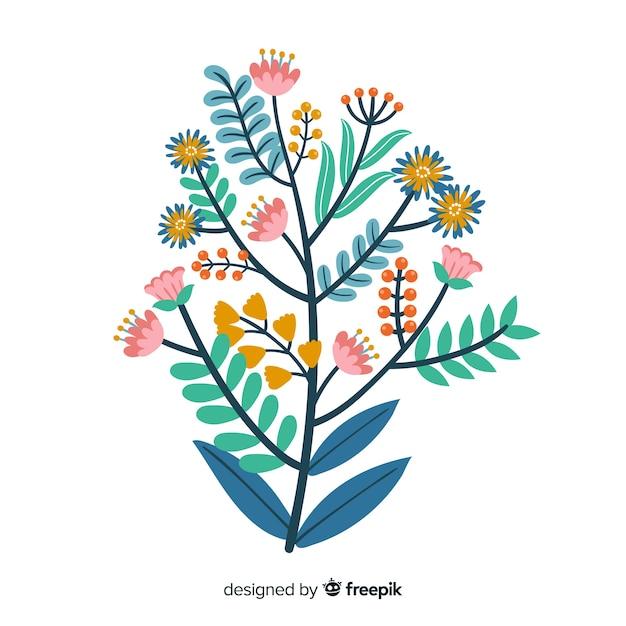 Branche florale dessinée à la main plate Vecteur gratuit