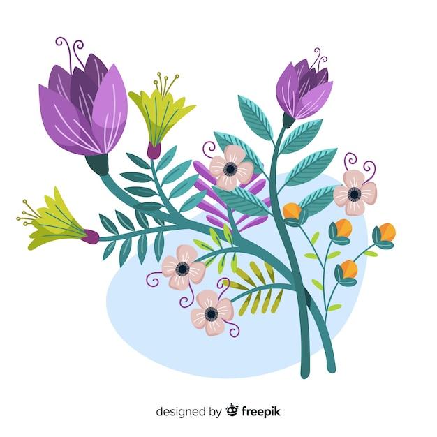 Branche Florale Plate Colorée à Fleurs Violettes Vecteur gratuit