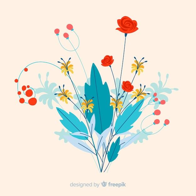 Branche florale plate colorée avec une variété de fleurs Vecteur gratuit