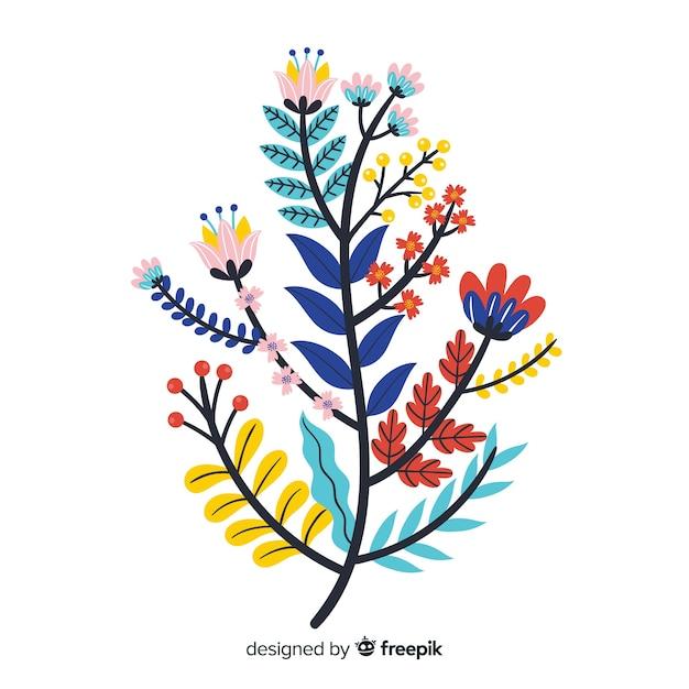 Branche florale plate colorée Vecteur gratuit