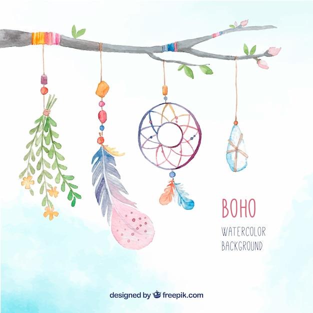 Branche de fond avec des éléments décoratifs d'aquarelle boho Vecteur gratuit
