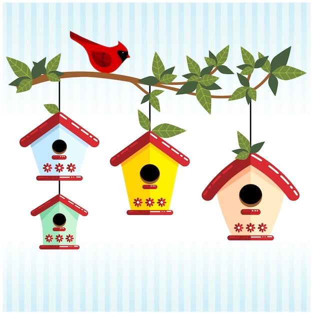 Branche mignonne avec des maisons d'oiseaux et cardinal rouge Vecteur Premium