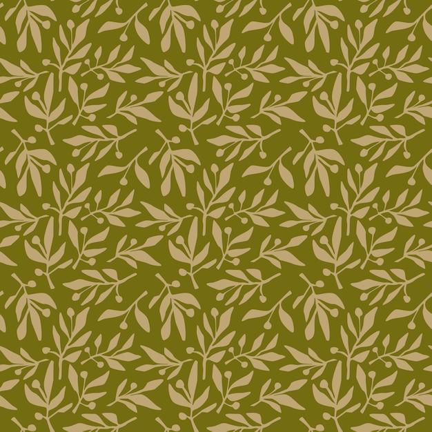 Branche d'olive modèle sans couture Vecteur Premium