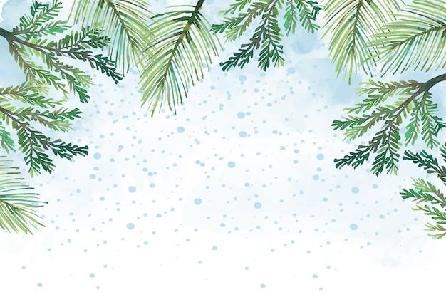 Branches d'arbre de noël aquarelle fond Vecteur gratuit