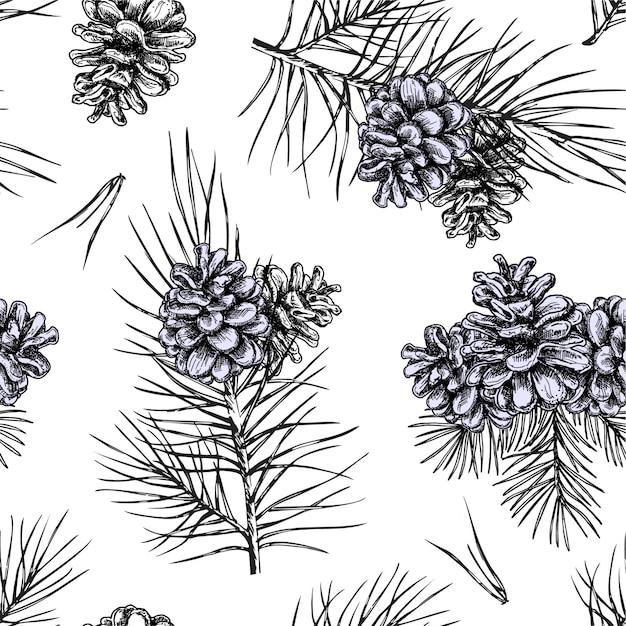 Branches D'arbres De Noël, Pomme De Pin à Fond Transparent Vecteur Premium