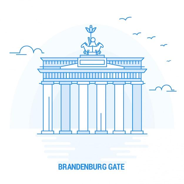 Brandenburg gate blue landmark Vecteur Premium