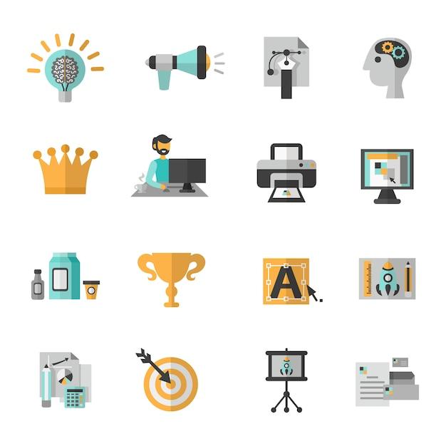 Branding icon flat set Vecteur gratuit
