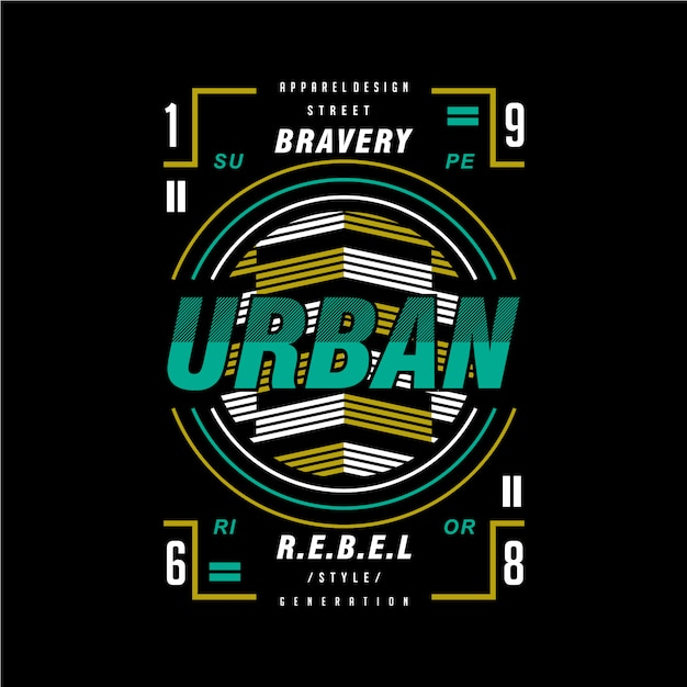 Bravoure urbain rebelle conception graphique t-shirt Vecteur Premium
