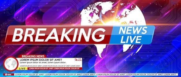 Breaking news screen saver en direct sur un fond coloré. Vecteur Premium