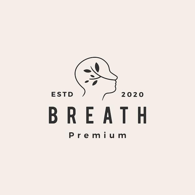 Breath Hipster Logo Vintage Icône Illustration Vecteur Premium