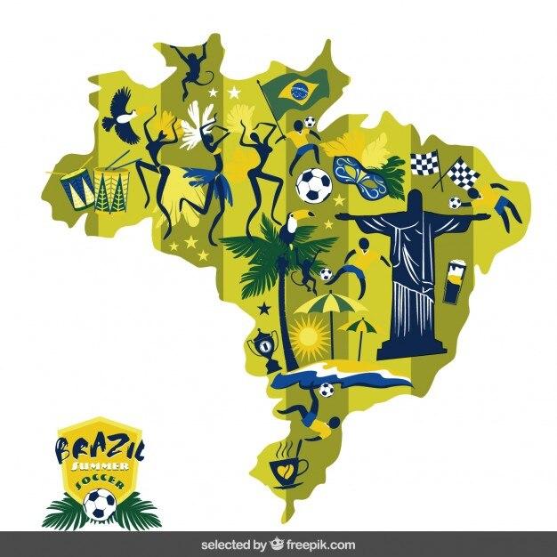 Brésil Carte de football Vecteur gratuit