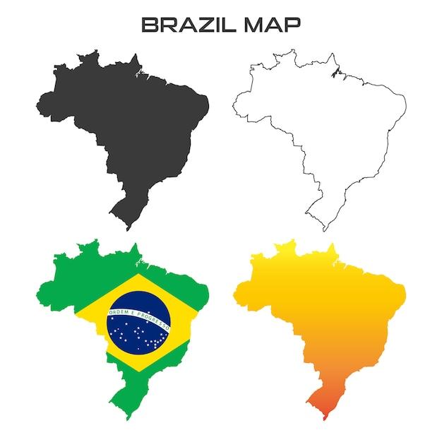 Brésil carte vector drapeau couleur collection ensemble Vecteur Premium