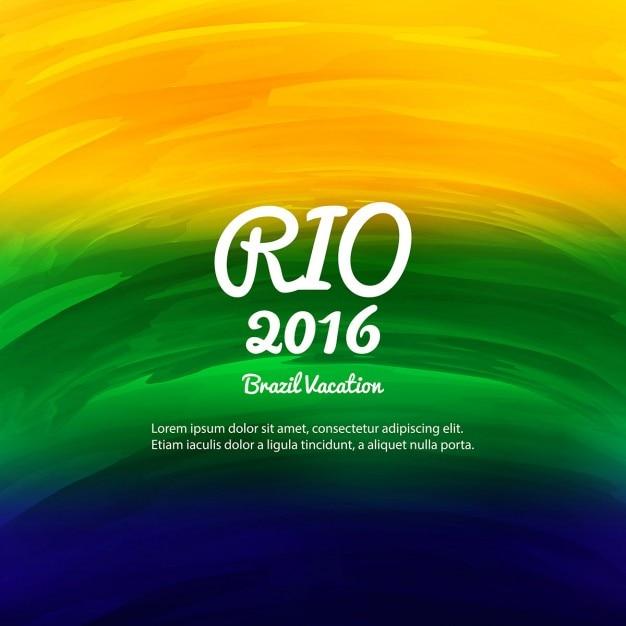 Brésil couleurs fond d'aquarelle Vecteur gratuit