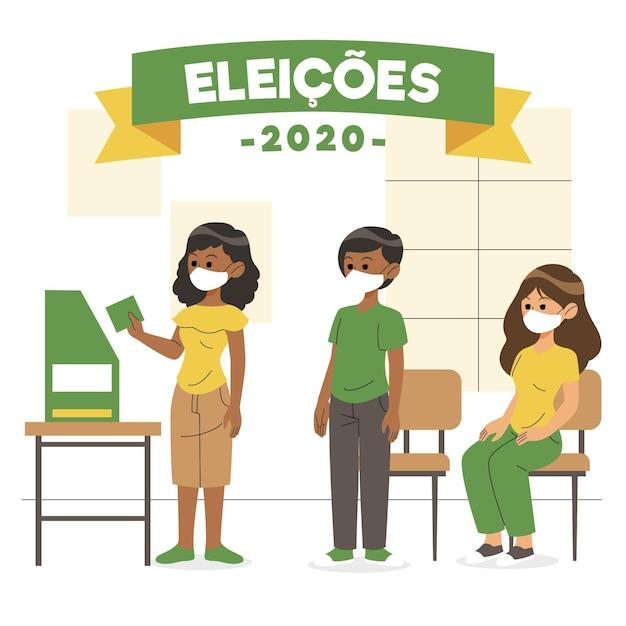 Brésil électeurs En Attente Dans La File D'attente Vecteur Premium