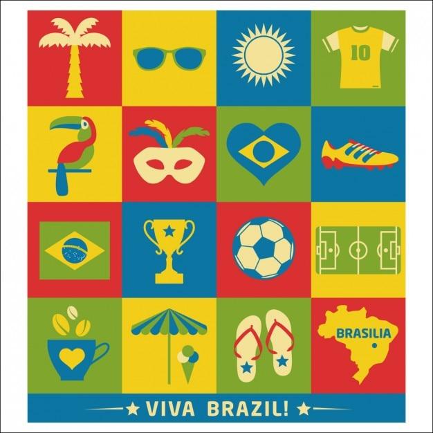 Brésil éléments différents Vecteur gratuit