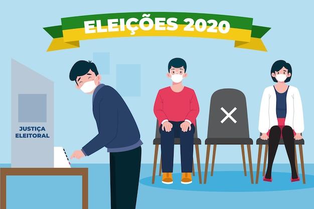 Brésil Gens File D'attente De Vote Avec Illustration De Masque Facial Vecteur Premium