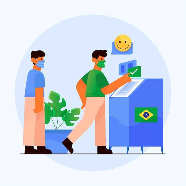 Brésil Gens File D'attente De Vote Avec Illustration De Masque Facial Vecteur gratuit