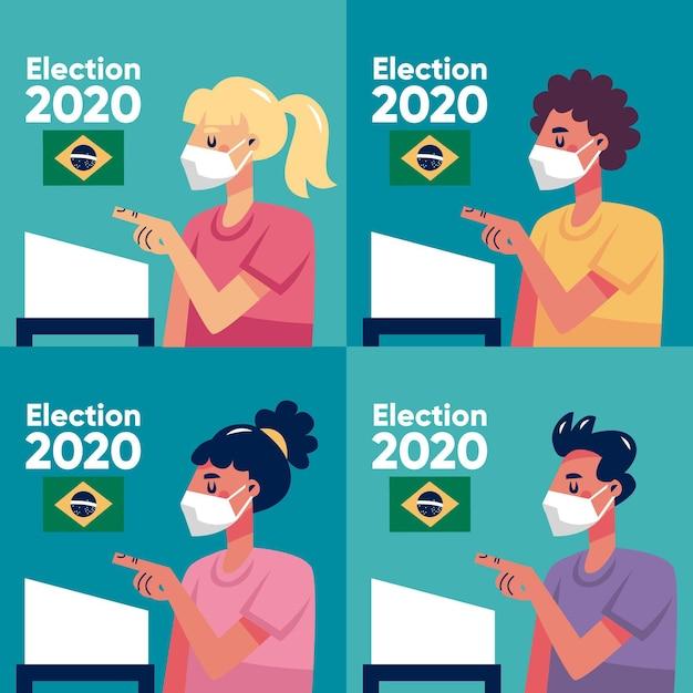 Brésil Gens File D'attente De Vote Avec Masque Facial Vecteur Premium