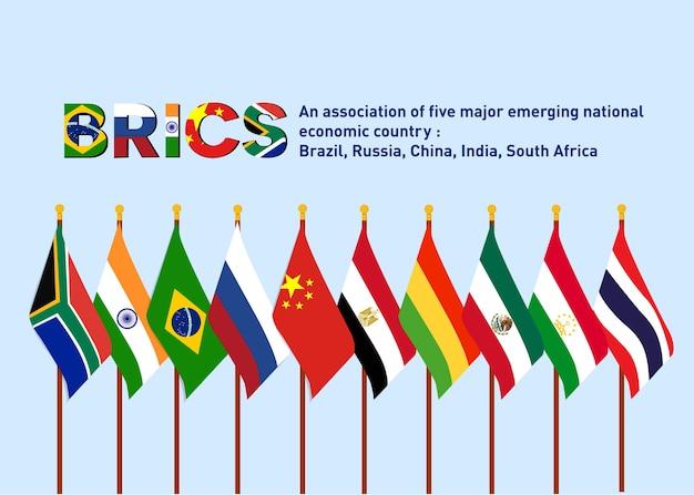 Bric association de cinq grands pays émergents avec de nouveaux pays membres Vecteur Premium