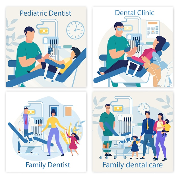 Bright Banner Est Written Dentist Pediatric Flat. Vecteur Premium