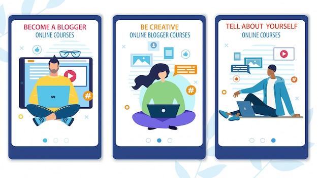 Bright flyer devenez un cours en ligne de blogger. Vecteur Premium