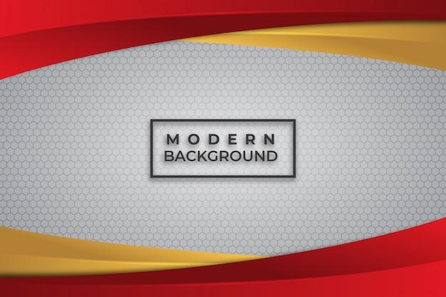 Brillant abstrait rouge et or sur fond blanc Vecteur Premium