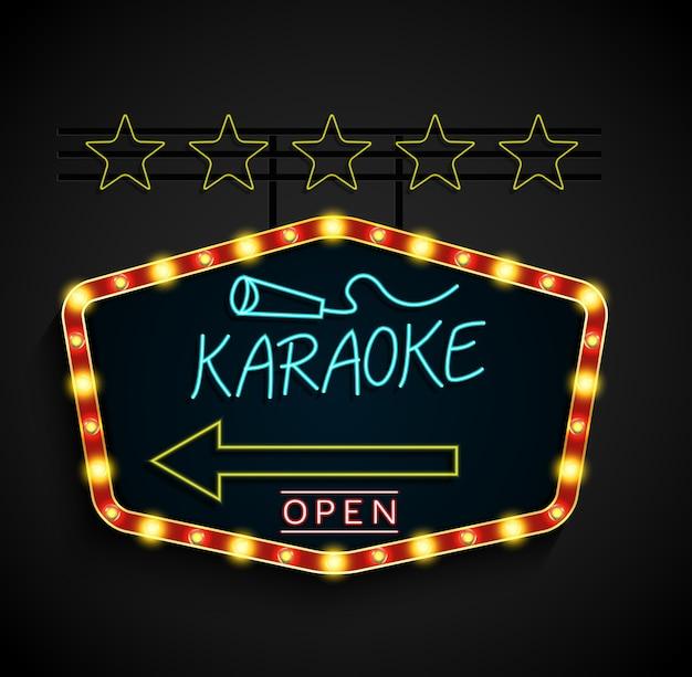 Brillant karaoké rétro bannière lumineuse sur un fond noir Vecteur Premium
