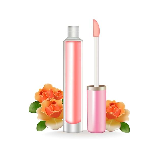 Brillant à lèvres vector réaliste. paquet 3d. cosmétique de beauté conteneur Vecteur Premium