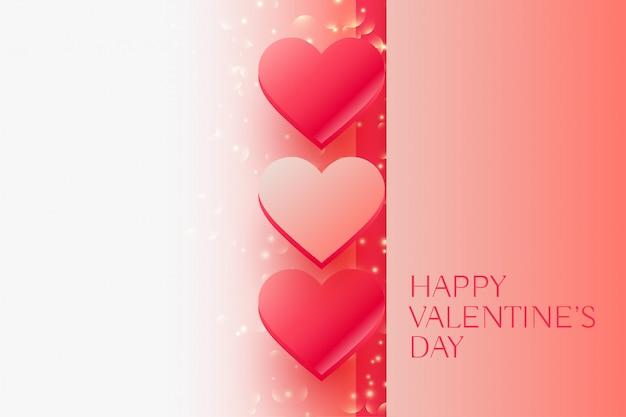 Brillant saint valentin beaux coeurs Vecteur gratuit
