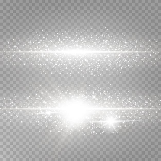 Briller la poussière lumineuse et l'éblouissement. Vecteur Premium