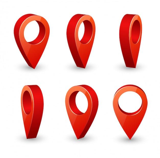 Broche 3d de pointeur de carte. symboles de localisation vector ensemble isolé Vecteur Premium