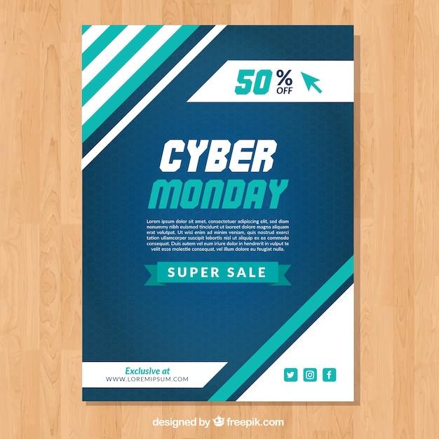 Brochure Abstraite Cyber Lundi Vecteur gratuit