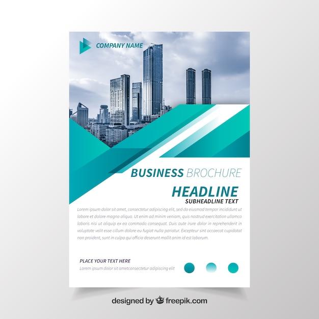 Brochure d'affaires avec géométrie Vecteur gratuit