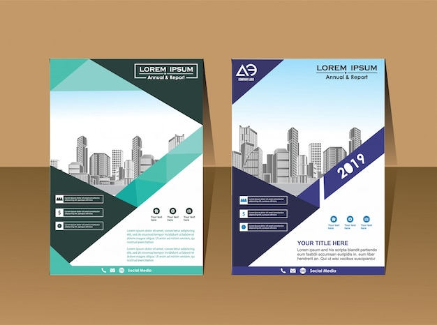 Brochure d'affaires modèle magazine de profil d'entreprise Vecteur Premium