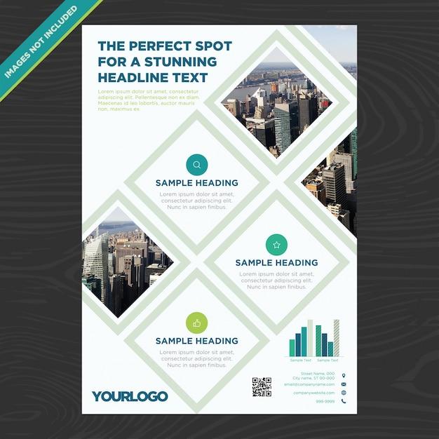 Brochure d'affaires avec des rhombus Vecteur gratuit